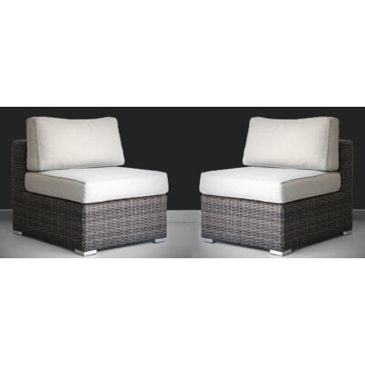 Perillo 2 Piece Rattan Seating Group with Cushions F64914067B6542978DCA16B68C7BB033