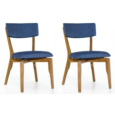 Amit Upholstered Dining Chair Upholstery Color: Blue