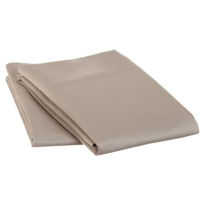 Cotton 1500 Thread Count Solid Pillowcase Pair Color: Stone, Size: King