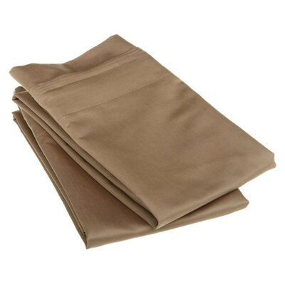 Cotton 1500 Thread Count Solid Pillowcase Pair Size: Standard, Color: Taupe