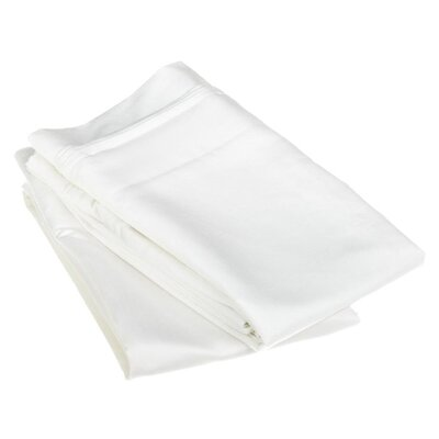 Cotton 1500 Thread Count Solid Pillowcase Pair Color: White, Size: Standard