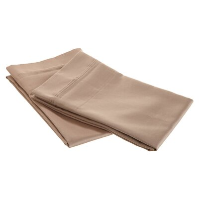 Patric 1500 Thread Count Solid Pillowcase Pair Color: Taupe, Size: Standard