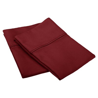 Emerson Cotton Rich 800 Thread Count Solid Pillowcase Size: King, Color: Burgundy