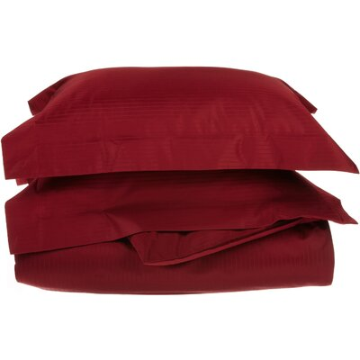 3 Piece Stripe Duvet Cover Set Size: King / California King, Color: Burgundy