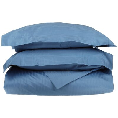 3 Piece Stripe Duvet Cover Set Size: Full / Queen, Color: Medium Blue