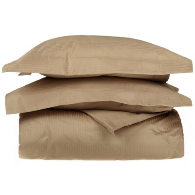 3 Piece Stripe Duvet Cover Set Size: Full / Queen, Color: Taupe