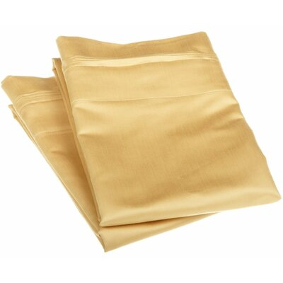 Patric 1500 Thread Count Solid Pillowcase Pair Size: Standard, Color: Gold