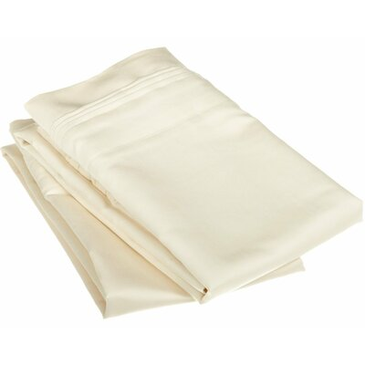 Patric 1500 Thread Count Solid Pillowcase Pair Color: Ivory, Size: Standard