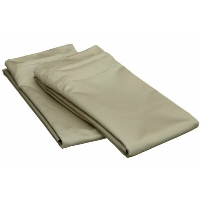 Patric 1500 Thread Count Solid Pillowcase Pair Size: King, Color: Sage