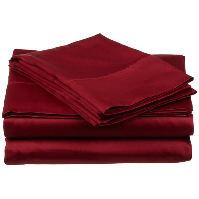300 Thread Count Premium Long-Staple Combed Cotton Solid Queen Waterbed Sheet Set Color: Burgundy