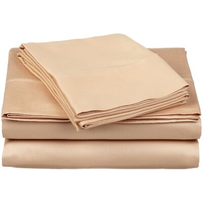 300 Thread Count Premium Long-Staple Combed Cotton Solid Queen Waterbed Sheet Set Color: Beige