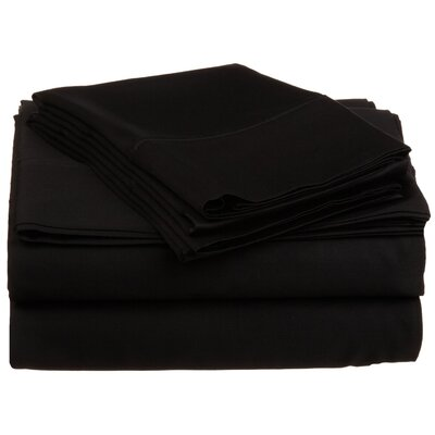 300 Thread Count Premium Long-Staple Combed Cotton Solid Queen Waterbed Sheet Set Color: Black