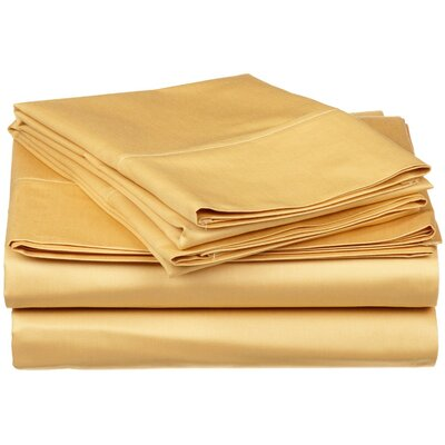300 Thread Count Premium Long-Staple Combed Cotton Solid Queen Waterbed Sheet Set Color: Gold