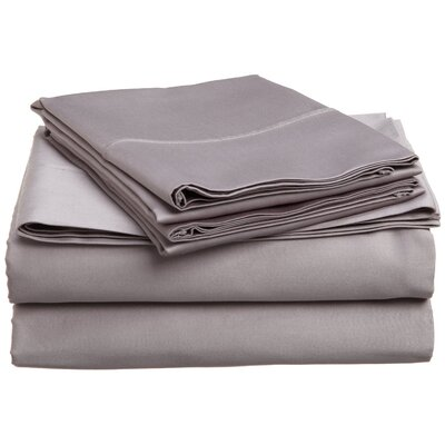 300 Thread Count Premium Long-Staple Combed Cotton Solid Queen Waterbed Sheet Set Color: Grey