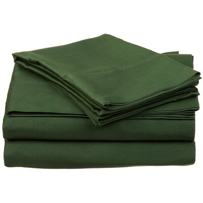 300 Thread Count Premium Long-Staple Combed Cotton Solid Queen Waterbed Sheet Set Color: Hunter Green