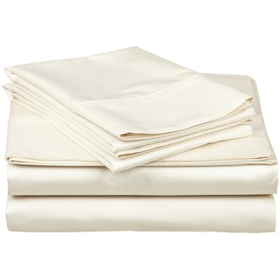 300 Thread Count Premium Long-Staple Combed Cotton Solid Queen Waterbed Sheet Set Color: Ivory