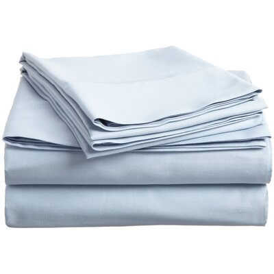 300 Thread Count Premium Long-Staple Combed Cotton Solid Queen Waterbed Sheet Set Color: Light Blue