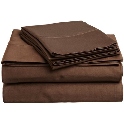 300 Thread Count Premium Long-Staple Combed Cotton Solid Queen Waterbed Sheet Set Color: Mocha