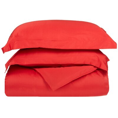 Simple Luxury 300 Thread Count Egyptian Cotton Solid Duvet Cover Set - Size: Twin, Color: Red at Sears.com