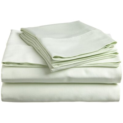 300 Thread Count Premium Long-Staple Combed Cotton Solid Queen Waterbed Sheet Set Color: Mint