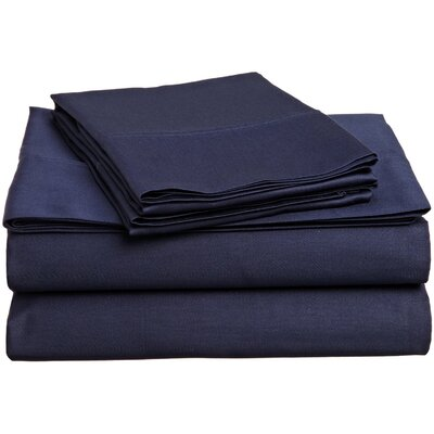 300 Thread Count Premium Long-Staple Combed Cotton Solid Queen Waterbed Sheet Set Color: Navy Blue