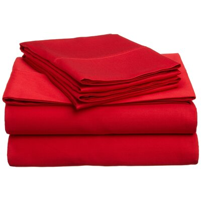300 Thread Count Premium Long-Staple Combed Cotton Solid Queen Waterbed Sheet Set Color: Red