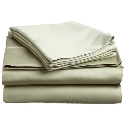 300 Thread Count Premium Long-Staple Combed Cotton Solid Queen Waterbed Sheet Set Color: Sage