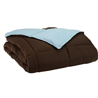 Simple Luxury All Season Reversible Down Alternative Comforter - Color: Chocolate / Sky Blue, Size: Full / Queen at Sears.com