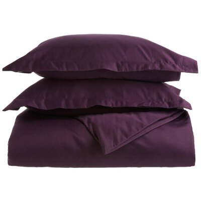 Cotton 1500 Thread Count Solid Duvet Cover Set Color: Plum, Size: Full / Queen