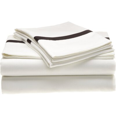 Simple Luxury Hotel Collection 300 Thread Count Cotton Sheet Set - Color: White / Black, Size: Twin Extra Long at Sears.com