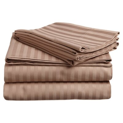 Simple Luxury 300 Thread Count Egyptian Cotton Stripe Sheet Set - Color: Taupe, Size: Split King at Sears.com