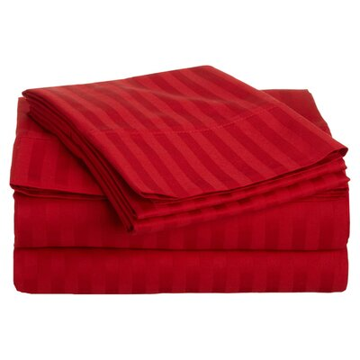 Simple Luxury 300 Thread Count Egyptian Cotton Stripe Sheet Set - Size: Full, Color: Red at Sears.com