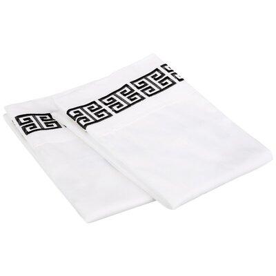 Bourg Cotton Pillowcase Size: Standard, Color: Black