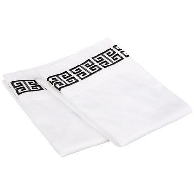 Bourg Cotton Pillowcase Size: King, Color: Black