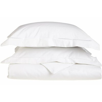 Patric Egyptian-Quality Cotton 3 Piece Reversible Duvet Set Size: Full / Queen, Color: White / White