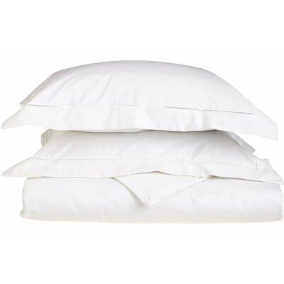 Patric Egyptian-Quality Cotton 3 Piece Reversible Duvet Set Color: White / White, Size: King / California King