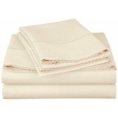 Micro Check 800 Thread Count Sheet Set Color: Ivory, Size: Extra Long Twin