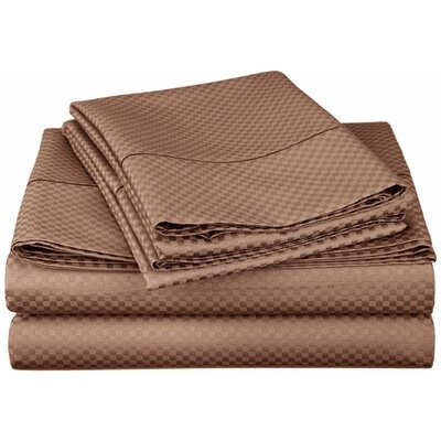 Simple Luxury Micro Check 800 Thread Count Rich Cotton Sheet Set - Color: Taupe, Size: King