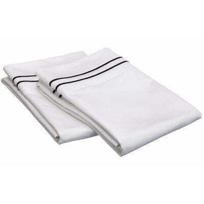 Patric 800 Thread Count Solid Pillowcase Color: White / Black, Size: Standard