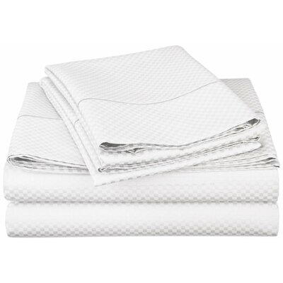 Micro Check 800 Thread Count Sheet Set Color: White, Size: Extra Long Twin