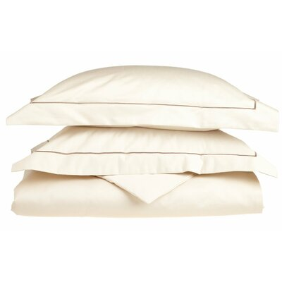Patric Egyptian-Quality Cotton 3 Piece Reversible Duvet Set Color: Ivory / Taupe, Size: King / California King