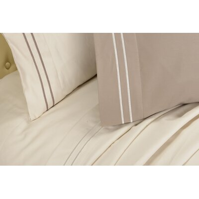 Patric 800 Thread Count Solid Pillowcase Size: Standard, Color: Taupe / Ivory
