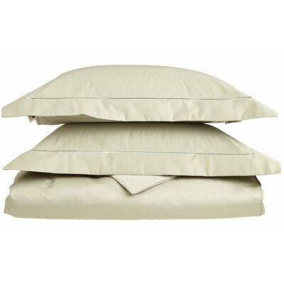Tipton 3 Piece Embroidered Reversible Duvet Cover Set Size: Full / Queen, Color: Sage / Sage