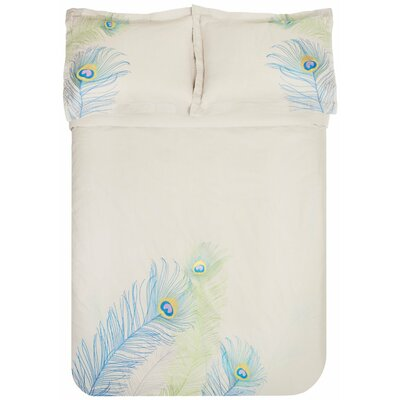 Peacock 3 Piece Embroidered Reversible Duvet Set Size: Full/Queen, Color: Blue/Green