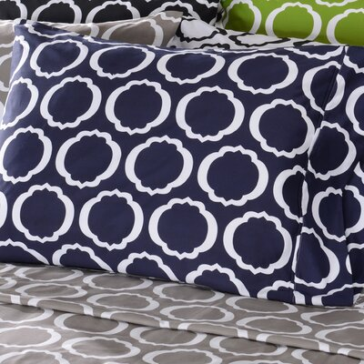 Scroll Park Cotton Rich 600 Thread Count Pillowcase Color: Navy Blue/White, Size: Standard