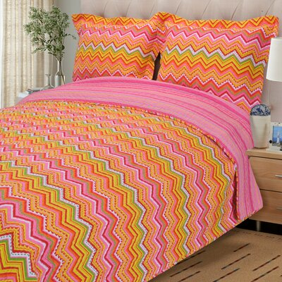 Zig Zag 2 Piece Reversible Quilt Set Color: Orange