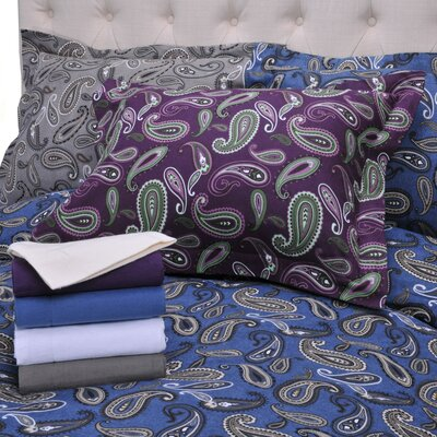 Simple Luxury Paisley and Solid Flannel Cotton Duvet Cover Set - Color: Purple Solid Size: Twin