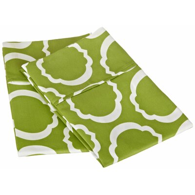 Scroll Park Cotton Rich 600 Thread Count Pillowcase Color: Green/White, Size: Standard