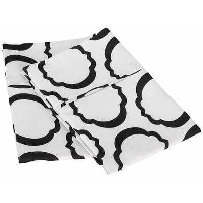 Scroll Park Cotton Rich 600 Thread Count Pillowcase Color: White/Black, Size: Standard