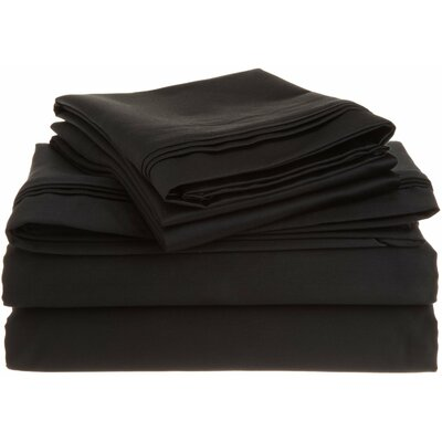 Tipton 1500 Thread Count 100% Egyptian-Quality Cotton Sheet Set Size: Queen, Color: Black